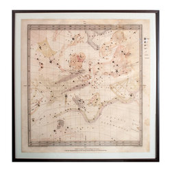 Flamsteed 4 - Framed Map - Scientific devices, reclining titans, and magnificent beasts rise across the arc of the sky in this classically-illustrated star chart, the fourth entry in the Flamsteed collection of celestial prints. An aged parchment background gives this print the coveted aura of antiquity, while the proportions of its narrow wood frame reflect those of the illustration's border for a harmonious double square.