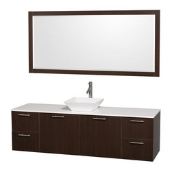 "Wyndham - Amare 72"" Wall Single Vanity Set in Espresso with White Stone Top & White Porcel - Modern clean lines and a truly elegant design aesthetic meet affordability in the Wyndham Collection Amare Vanity. Available with green glass or pure white man-made stone counters, and featuring soft close door hinges and drawer glides, you'll never hear a noisy door again! Meticulously finished with brushed Chrome hardware, the attention to detail on this elegant contemporary vanity is unrivalled.; Constructed of beautiful veneers over the highest grade MDF, engineered for durability, and to prevent warping and last a lifetime; 8-stage preparation, veneering and finishing process; Highly water-resistant low V.O.C. sealed finish; Unique and striking contemporary design; Modern Wall-Mount Design; Deep Doweled Drawers; Fully-extending soft-close drawer slides; Counter options include Green Glass, White Man-Made Stone, and Caesarstone (many colors available); Single-hole faucet mount; Available with Porcelain, Granite, and Marble vessel sink(s); Single-hole faucet mount; Faucet(s) not included; Mirror included; Metal exterior hardware with brushed chrome finish; Two (2) functional doors; Two (4) functional Drawers; Plenty of storage space; Includes drain assemblies and P-traps for easy assembly; Minimal assembly required; Weight: 342 lbs; Dimensions: Vanity: 72""W x 22""D x 21-1/4""H Sink adds 5 to 5 1/2"" to height; Mirror(s): 72""L x 36""D x 3""H"