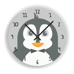"Nursery Code - Nursery Wall Clock - PENGUIN Illustration - Kids Room Clock, Grey, 11"" Diameter - Nursery Wall Clock, Penguin- Boys room decor."