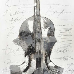 """Vertuu Design - """"Recital"""" Artwork - A monochromatic palette and textured designs give the """"Recital"""" Artwork its striking look. Featuring a tarnished silver violin against a gray background with faded script, this hand-painted acrylic canvas piece feels elegant and current. Its neutral palette makes it a perfect addition to bright or subdued color schemes."""