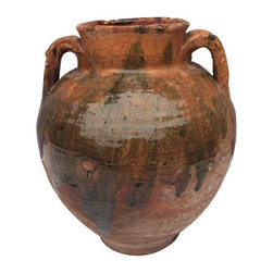 Pre-owned Antique Handmade Turkish Vase - A vintage Turkish vase, handmade and beautifully glazed with hints of color. A perfect piece to layer ethnic and eclectic notes to your space. The vase is double handled, very solid, and it's in perfect condition with no chips or cracks.