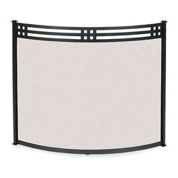 Fireside Distributors - Craftsman Style Bowed Fireplace Screen (39 in. Width) - Choose Size: 39 in. Width. Craftsman style bowed fireplace screen adds a modern touch to your hearth.  Available in optional sizes to fit large and small fireplaces, this handsome design features a durable black metal finish frame with mesh insert and the base is footed for added stability. Time-honored detail at home in a traditional or contemporary setting. Allow 0.13 in. tolerance due to hand forging. Screen sizes listed are for actual framed mesh area and do not include feet or decorative finials. Black finish. 6.5 in. L x 31 in. H. Depth of bow: 6.5 in.