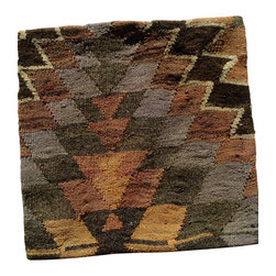 Hand woven import - Earthy colored Hand Woven Kilim Pillow Cover - Hand Woven in colors rich browns, greens and greys; this hand woven Turkish Kilim pillow cover has thick texture and bold design.  20x20.  Being sold is pillow cover only.