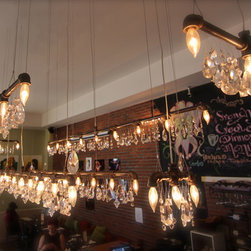 Michael McHale Designs - Custom array of Tribeca Collection Bar Chandeliers - At Cranky's Cafe in Long Island City, NY