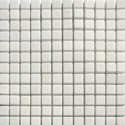 1 in. x 1 in. White Tumbled Square Pattern Mesh-Mounted Marble Mosaic Tiles - 1 in. x 1 in. White Mesh-Mounted Square Pattern Marble Mosaic Tile is a great way to enhance your decor with a traditional aesthetic touch. This Tumbled Mosaic Tile is constructed from durable, impervious Marble material, comes in a smooth, unglazed finish and is suitable for installation on floors, walls and countertops in commercial and residential spaces such as bathrooms and kitchens.