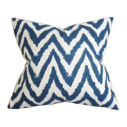 """The Pillow Collection - Kingspear Zigzag Pillow Navy Blue 18"""" x 18"""" - Modify the look and feel of your home with this attractive decor pillow. This accent pillow features a striking zigzag pattern in navy blue and white hues. This throw pillow complements many decor themes including contemporary, traditional, coastal and more. It provides coziness to any room, this 18"""" pillow is made with 100% plush cotton fabric. Hidden zipper closure for easy cover removal.  Knife edge finish on all four sides.  Reversible pillow with the same fabric on the back side.  Spot cleaning suggested."""