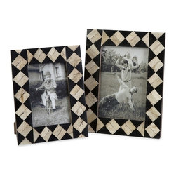 """IMAX CORPORATION - Lanta Bone Inlay Frames - Set of 2 - The white bone and black inlaid diamond pattern of this set of two Lanta bone inlay photo frames evokes the nostalgic feel of a traveling circus. For a coordinated look, display with the Lanta bone inlay boxes and tray. Set of 2 in various sizes measuring around 7.75""""l x 2.5""""W x 10.25""""H each. Shop home furnishings, decor, and accessories from Posh Urban Furnishings. Beautiful, stylish furniture and decor that will brighten your home instantly. Shop modern, traditional, vintage, and world designs."""