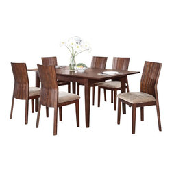 "Acme - 7-Piece Mauro Contemporary Country Kitchen Style Collection Dining Table Set - 7-Piece Mauro contemporary country kitchen style collection dark brown finish wood 4 leg dining table set with fabric upholstered chairs . This set includes the table , 6 - side chairs. Additional chairs also available separately at additional cost. Table measures 36"" W x 60"" L (78"" L with 1 - 18"" leaf included) . Side chairs measure 39"" H to the back. Some assembly required."
