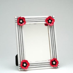 ATD - 14 Inch Decorative White and Red Poppy Flower Striped Wall Mirror - This gorgeous 14 Inch Decorative White and Red Poppy Flower Striped Wall Mirror has the finest details and highest quality you will find anywhere! 14 Inch Decorative White and Red Poppy Flower Striped Wall Mirror is truly remarkable.