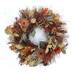 "Frontgate - Rustic Elegance Christmas Wreath - 22"" dia. - Wreath featuring dried autumn colored foliage. Use as a centerpiece or decorative wall decor. Crafted of dried eucalyptus, red boxwood, oak leaves, berries, and protea repens flowers. Ideal base for candles, nut bowls, and hurricane lamps. For indoor or covered outdoor spaces. The Rustic Elegance Wreath is a melding of autumn's richest colors. A showcase of rust, brown, yellow, and pale green foliage is smartly arranged to bring the majesty of autumn's palette to room decor and holiday festivities. Hang on the wall or use as a decorative centerpiece to accent candles, nut bowls, and hurricane lamps. For indoor use and covered outdoor spaces.  .  .  .  .  . Frontgate exclusive . Two size choices . Made in the USA"