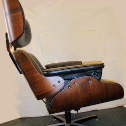 Eames Style Longe Chair - Completely refinished and reupholstered in black leather Eames Style Lounge Chair