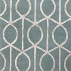 Jaipur Rugs - Hand-Tufted Geometric Pattern Wool/Art Silk Blue/Gray Area Rug (8 x 11) - Over scaled sharp geometrics characterize this striking contemporary range of hand tufted rugs. The high/low construction in wool and art silk creates texture and surface interest and gives a look of matt and shine.