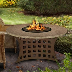 California Outdoor Concepts LaCosta Round Chat Height Fire Pit Table - Create a more memorable forum for your next gathering with the ambient light and warmth of the California Outdoor Concepts LaCosta Round Chat Height Fire Pit Table. There's nothing quite like sharing your ideas and views around a fire that dances atop polished granite pulled from the depths of mountains that stood for millennia. This artfully designed chat-height table features a round and expansive surface that encircles the blaze with that natural stone for a look that is majestic and inviting. Supporting the round granite is a square, open-weave base with artfully curved edges crafted from sturdy aluminum that houses an all-stainless steel burner capable of emitting up to 40,000 BTUs of soothing heat. For a finishing touch, customize your table with either realistic gas logs and lava rocks that cover the burner or your choice of colorful fire glass.About California Outdoor ConceptsCalifornia Outdoor Concepts builds their fire pits and accessories exactly where it would seem - in the sunny climate of idyllic California. By living the lifestyle they sell, this small company is able to develop some of the most sophisticated, beautiful, and practical designs for outdoor socializing. There are no assembly lines at the COC production facility - each piece is handmade and checked for perfection. When you're ready to heat things up in your backyard, trust in the true California way.