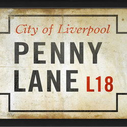 The Artwork Factory - 'Penny Lane' Print - The Beatles fan in your life will love this ode to the iconic street. A vintage-style Penny Lane sign will add character and soul to your home with just a touch of timeless rock and roll. Hang this framed print in a place of prominence for a daily reminder of the beloved music.