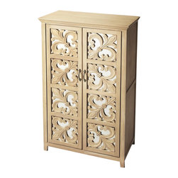 Butler - Fleur De Lis Mirrored Door Chest - Two shelves. Eight panels of fleur de lis designs on mirrored backgrounds door fronts. Made from select mango solid wood and resin. Natural finish. Made in India. 28.5 in. W x 16.5 in. D x 49.25 in. H (86 lbs.)