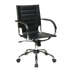 Avenue Six - Avenue Six Trinidad Office Chair With Fixed Padded Arms and Chrome in Black - Avenue Six - Office Chairs - TND941ABK - Featuring contour seat and back with built-in lumbar support Trinidad Office Chair is here to brighten up your day. With its locking tilt control adjustable tilt tension and one touch pneumatic seat height adjustment this chair offers unique comfort and style. Heavy duty chrome base and dual wheel carpet casters for easy mobility.