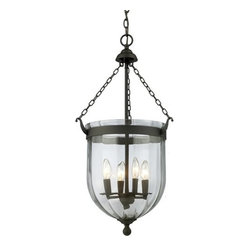 Z-Lite - Z-Lite 140-28 Warwick 4 Light Urn Pendant - For a traditional yet versatile look, this four light chandelier would be perfect for adding elegance to any space. The sculpted circular glass shades are suspended from a circular iron band, finished in bronze. Inside the shade are suspended candelabra lights, adding the finishing touch on an elegant fixture.Features: