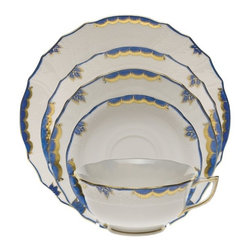 Herend - Herend Princess Victoria Blue 5-Piece Place Setting - Herend Princess Victoria Blue 5-Piece Place Setting