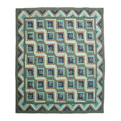Patch Quilts - Green Log Cabin Duvet Cover Queen 88 x 98 Inch - Beautifully crafted cover with intricate patchwork  - Bedding ensemble from Patch Magic,  the name for the finest quality quilts and accessories  - Machine washable  - Line or Flat dry only  - 100% cotton 220-230 thread count. Patch Quilts - DCQGLC