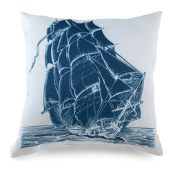 Lava - Ship On White 18 x 18 Pillow (Indoor/Outdoor) - 100% polyester cover and fill. Suitable for use indoors or out. Made in USA. Spot clean only