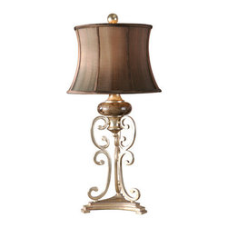Uttermost - Uttermost 26922 Marcella Table Lamp - Uttermost 26922 Carolyn Kinder Marcella Table LampThis lamp features antiqued silver leaf metal with black undertones and chocolate marble details. The semi-bell shade is a silken chocolate textile.Features: