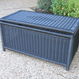 None - PVC and Steel Garden Storage Trunk - Get organized on the deck, porch, or patio with this outdoor PVC storage trunk. This handsome trunk looks like wicker but is actually all-weather PVC. This roomy trunk holds everything from gardening tools to pool accessories or spa chemicals.