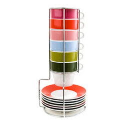 Espresso Set Tower - Compact and ready for a coffee break at a moment's notice, this espresso set is bright and cheerful, but still manages to be effortless and cool. The tower gives it a cool coffee shop vibe to decorate your counter space.