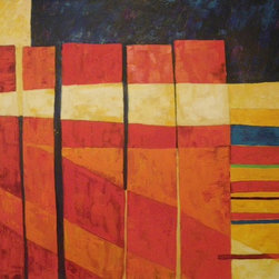 Audrey Mabee, 'The Fence' - 1985, signed original oil on canvas with artist's gold-colored wood frame. Please allow additional lead time as this artwork is shipped from Canada (to Seattle), before being shipped to buyer.