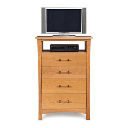 Copeland Furniture - Copeland Furniture Monterey 4 Drawer Chest + TV Organizer 2-MNT-45-03 - The Monterey Bedroom gives traditional Arts & Crafts an Asian touch. The clean lines of the Monterey bed are perfectly complemented by a selection of case pieces. All pieces are crafted in solid cherry hardwood.