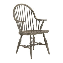 Frontgate - Morlaine Arm Chair - Classic Windsor chair styling. Continuous arm and carved saddle seat offer ultimate comfort. Ash wood with a slate grey finish. Also available as a side chair. Coordinates with other items from our French Heritage Country Home Collection. This is the type of chair that's seen plenty of hours and laughs sitting around a large wood table, with an open window nearby. Our Morlaine Arm Chair features the traditional elements of the Windsor chair - including the comfortable continuous arm and carved saddle seat - but updates the laid-back attitude with a sophisticated slate grey finish.  .  .  .  .  .