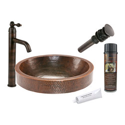 Premier Copper Products - Oval Skirted Vessel Copper Sink w/ ORB Faucet - PACKAGE INCLUDES: