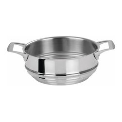"Cristel USA - Cristel Casteline Fixed Handle - 9.45"" Universal Steamer - Features  - Triple layer made out of aluminum sandwiched between 2 layers of stainless steel."