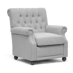 """Wholesale Interiors - Moretti Light Gray Linen Modern Club Chair - You will never regret a lazy afternoon when sitting in our beautiful Moretti Club Chair! Chock full 'o elegance, this modern yet classic style is built sturdily with a wooden frame, dense foam cushioning, and a removable seat cushion. Of course, the upholstery and detailing shine brightest: light gray linen, a button tufted backrest, silver tone metal nailhead armrest trim, and a scrollback. Black wooden legs with non-marking feet round out a great set of features. This fabulous modern lounge chair is made in China, requires some assembly, and is also available in dark charcoal gray. Spot clean only. Dimension: 31.25"""" x 34""""D x 35.25""""H. Seat Dimension: 20""""W x 21""""D x 18.5""""H, arm height: 23.5""""H."""