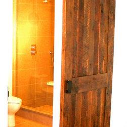 Bathroom Barn Door - The door is made out of beautiful reclaimed solid Oak.