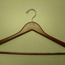 Proman Products - Genesis Flat Suit Hanger With Lock Bar - Genesis flat suit hanger with lock bar, light walnut, chrome hardware, 44.4Lx1.2Tcm, 100 pcs/case