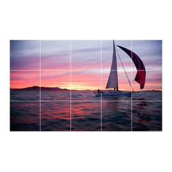 Picture-Tiles, LLC - Boat Ship Picture Kitchen Bathroom Ceramic Tile Mural  12.75 x 21.25 - * Boat Ship Picture Kitchen Bathroom Ceramic Tile Mural 1221