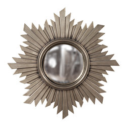 Howard Elliott - Euphoria Brushed Nickel Mirror - This unique mirror is finished in a Brushed Aged Nickel and has Gold Hues and features a center Convex Mirror. Finished In A Brushed Aged Nickel and Has Gold Hues. Mirror Size: 8 in. Diameter. 21 in. Diameter x 1 in.