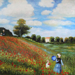 "overstockArt.com - Monet - Poppy Field in Argenteuil - 36"" X 48"" Oil Painting On Canvas Hand painted oil reproduction of a famous Monet painting Poppy Field in Argenteuil. The original masterpiece was created in 1873. Today it has been carefully recreated detail-by-detail, color-by-color to near perfection. While Monet successfully captured life's reality in many of his works, his aim was to analyze the ever-changing nature of color and light. Known as the classic Impressionist, one cannot help but have deep admiration for his talent. This work of art has the same emotions and beauty as the original. Why not grace your home with this reproduced masterpiece? It is sure to bring many admirers!"