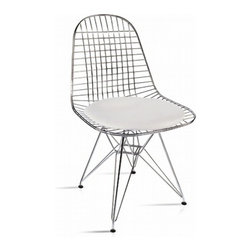 Lemoderno - Fine Mod Imports  Eiffel Dining Chair, White - The Eiffel Dining side chair features a solid chrome steel frame, a chrome wire base and PU seat pad. Available in black and white fabric upholstery. Leatherette seat pad    Assembly Required