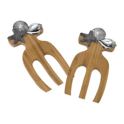 Thirsty Stone - Solid Bamboo Salad Hands with Pewter Shells Accent - Set of 2 - Set of 2. Unique peg stopper on the back keeps hands from slipping into your bowl. Made from natural sustainable Bamboo. No assembly required. 9 in. L x 4 in. W x 1 in. H (1.1 lbs.)
