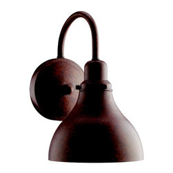 Kichler 1-Light Outdoor Fixture - Distressed Copper Exterior - One Light Outdoor Fixture Nautical lighting was the inspiration for these distressed copper energy efficient outdoor fixtures. A simple inverted, hooked arm and slight bell sconce make for a maritime look sure to please. Wall sconce. 1 light, 2700k, pls 13-w. Lamp included. Width 5, height 9 , extension 7 . Height from center of wall opening 5 . Photocell included listed for wet location. Replacement bulb 4020, replacement ballast 4031. Dark sky compliant. U. S. Patent pending.