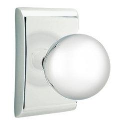 Emtek - Emtek Orb Privacy Door Knob Set with Neos Rosette - Polished Chrome - Emtek Contemporary Orb Privacy Door Knob Set with Neos Rosette, Polished Chrome