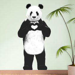 My Wonderful Walls - Standing Panda Bear Sticker Cut Out - All You Need Is Love by Balázs Solti, Larg - - Product:  standing panda bear wall sticker with heart hands