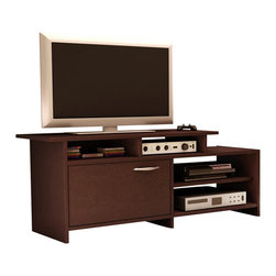 "South Shore - South Shore Back Bay TV Stand in Chocolate Finish - South Shore - TV Stands - 3159661 - Infuse your living room with the grace and style of the Back BayTV Stand. This chic TV Stand blendsstraight minimalist lines and sleek metal handles with a richChocolate finish to bring sophisticated and contemporary appeal to yourliving room. This TV stand's trendy asymmetrical design will give your living room a brand new look. It features both easily accessible open storage spaces and a more discreet closed compartment. It can accommodate televisions of up to 42"""" The kickplates offer a modern accentand are periodically interrupted by softly curving lines for a note ofelegance. The simple metal handles stand out in contrast with the richdark finish and enhance the collection's smooth fresh look.Features:"