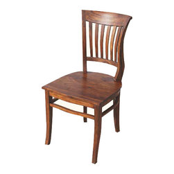 Sierra Living Concepts - Rustic Solid Wood Kitchen Side Dining Chair Furniture - Rustic Solid wood Dining Side Chair with curved backrest and matching legs.