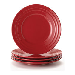 Rachael Ray - Rachael Ray Double Ridge Red 8-inch Salad Plates (Set of 4) - This salad plate dinnerware set from Rachael Ray is a great tabletop solution for every occasion from simple family weeknight meals to entertaining friends with vibrant and colorful pieces. These plates are microwave and dishwasher safe for easy cleanup.