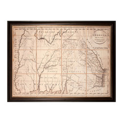 Georgia Map for ATL Jan 2011 - Framed - An interesting example of antique cartography in which the tribal lands of Native American groups are indicated, this Georgia Map has been reproduced for display in the home within a wide museum-quality frame of dark wood. The faded, browned color of the map emphasizes its authenticity and age, as do the worn streaks from long-term creasing which form lines of latitude on the map.