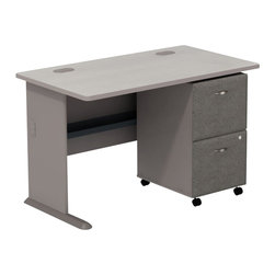 "Bush - Bush Series A 48"" Computer Desk with 2-Drawer File Cabinet in Pewter - Bush - Office Sets - SMA004PESU - Roll up your sleeves and create custom workspace. Bush Series A Pewter Finish 48"" Desk with 2-Drawer File match and fit beautifully with other pieces from the Series A collection. Four-foot width is compact yet offers plenty of space to spread out. Two wire management ports keep unsightly cords and cables hidden. Under desk shelf provides a place for small items. Versatile, 2-Drawer File puts the benefits of mobile storage where you need it most. Goes to work immediately under all Series A desks. File/file configuration lets you store letter, legal or A4 size files. One lock secures both file drawers for security. Full-extension ball bearing slides allow easy, convenient access to back of drawers. Stylish, elliptical drawer pulls add panache. Bush Furniture 10-year warranty."