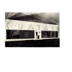 Chatard, Small, Unframed - This print is of an art deco facade, one of a series of architectural renderings by an unknown artist originally created circa 1925 Paris, France. The design was for the Chatard tailor shop to be located at 16 Boulevard Montmartre, a prime location on a grand boulevard in Paris. Notations on the rendering indicate the facade as a white stainless steel.