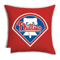 Sports Coverage - MLB Philadelphia Phillies Sidelines Toss Pillow - Make that new officially licensed MLB Philadelphia Phillies Sidelines Toss Pillow look as good as it feels. A must have for any true fan. A New Design - Same great quality!! Coordinating Toss pillow to match jersey material logo Comforter. Pillow is 17 x 17, 100% Polyester Cover and Fill. SIDELINES is trimmed in teams secondary color. 100% Polyester Jersey. Spot Clean only.